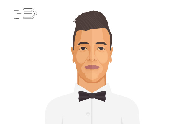 Flat design portrait in Adobe Illustrator