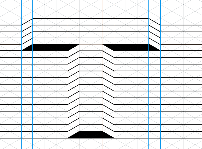 Fill negative space into the bottom of the crossbar