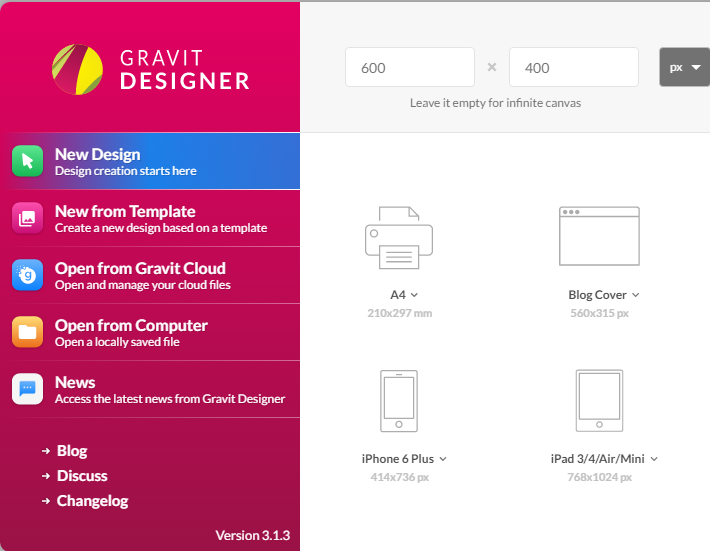 Gravit Designer New document