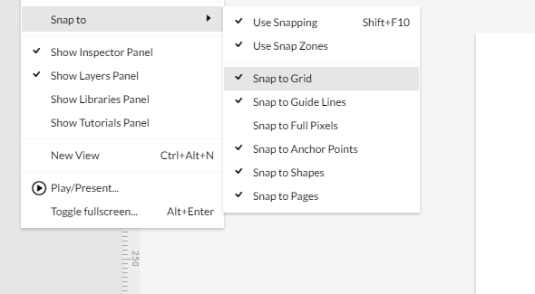 Snap to grid options