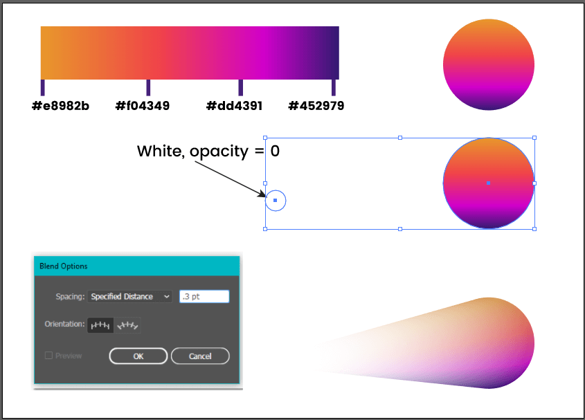 Create comet with the blend tool