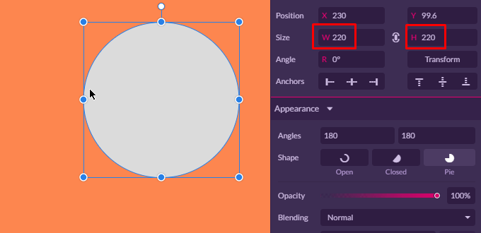 Create a circle in gravit designer