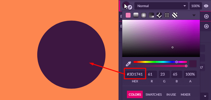 Set a fill color to the circle