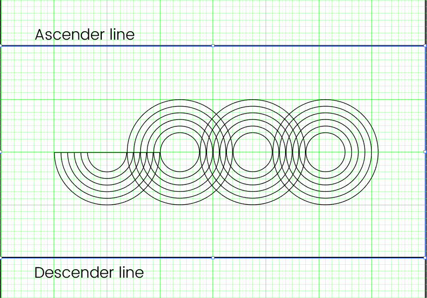 Draw an ascender and descender