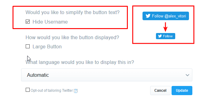 Hide twitter button username
