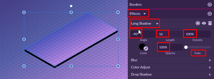 Long Shadow Effect Settings
