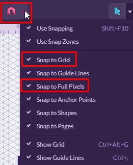 Snap to Grid and full pixel