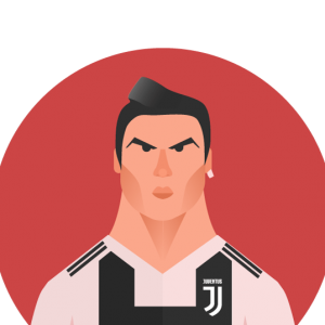 The flat design portrait of Cristiano Ronaldo